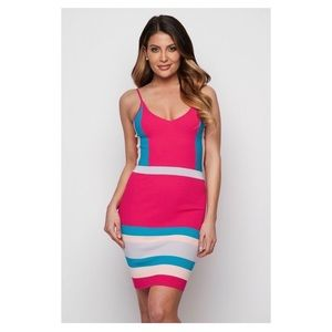 Dresses & Skirts - Pink and blue Ribbed Dress
